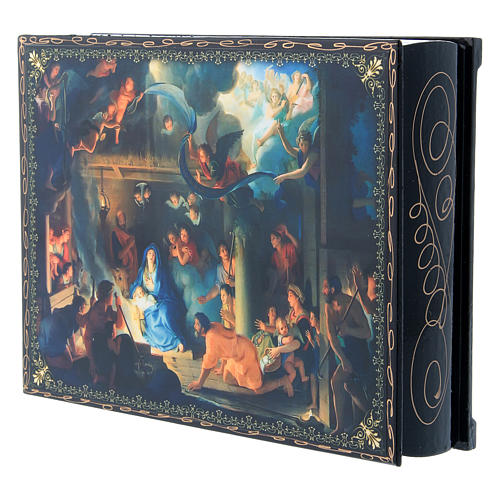 Russian lacquer box The Birth of Jesus Christ and the Adoration of the Three Wise Men 22X16 cm 2