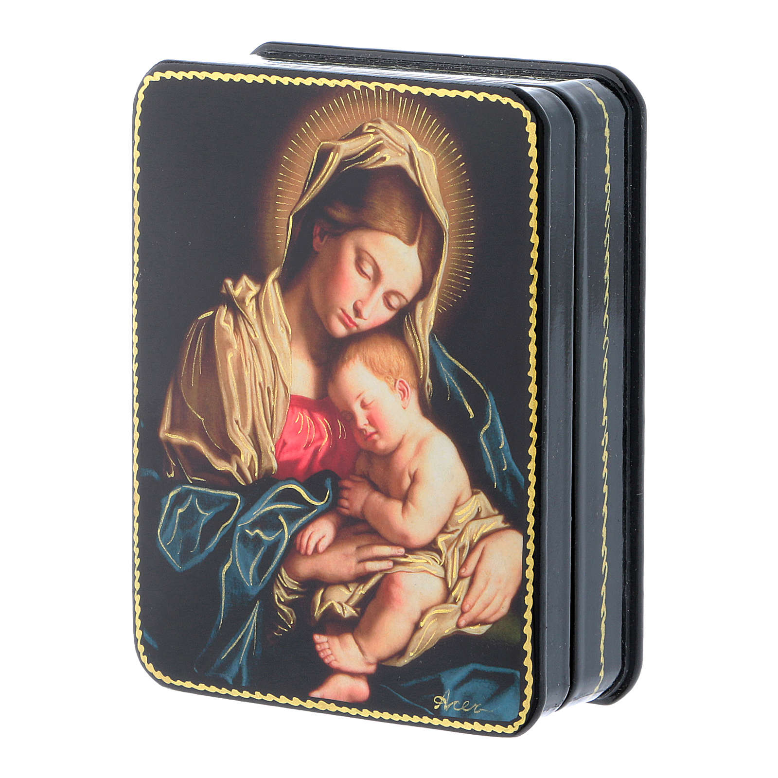 Russian papier-machè box Our Lady with Baby Jesus of Sassoferrato Fedoskino style 11x8 cm 4