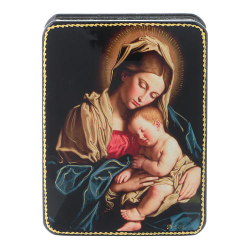 Russian papier-machè box Our Lady with Baby Jesus of Sassoferrato Fedoskino style 11x8 cm 1