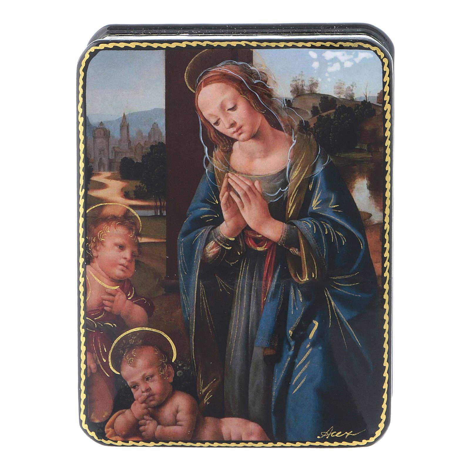 Lacca russa cartapesta Madonna Bambino S. Giovannino Fedoskino style 11x8 4