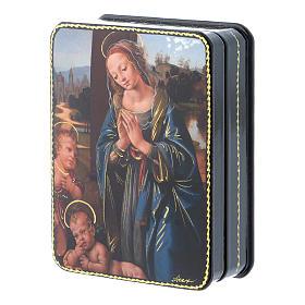 Lacca russa cartapesta Madonna Bambino S. Giovannino Fedoskino style 11x8 s2