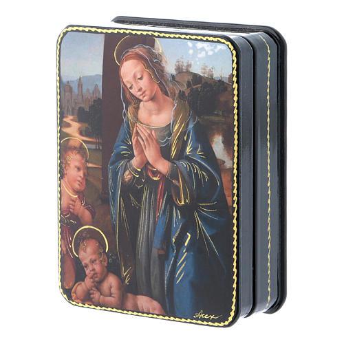 Lacca russa cartapesta Madonna Bambino S. Giovannino Fedoskino style 11x8 2