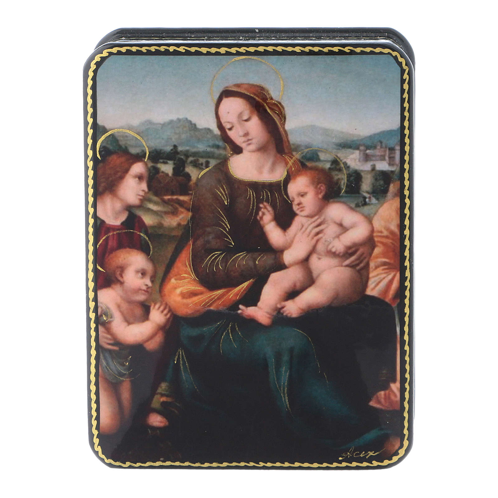 Russian papier machè and lacquer box The Adoration of Baby Jesus Fedoskino style 11x8 4