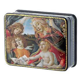 Russian papier machè and lacquer box Our Lady of Pomegranate Fedoskino style 11x18 cm