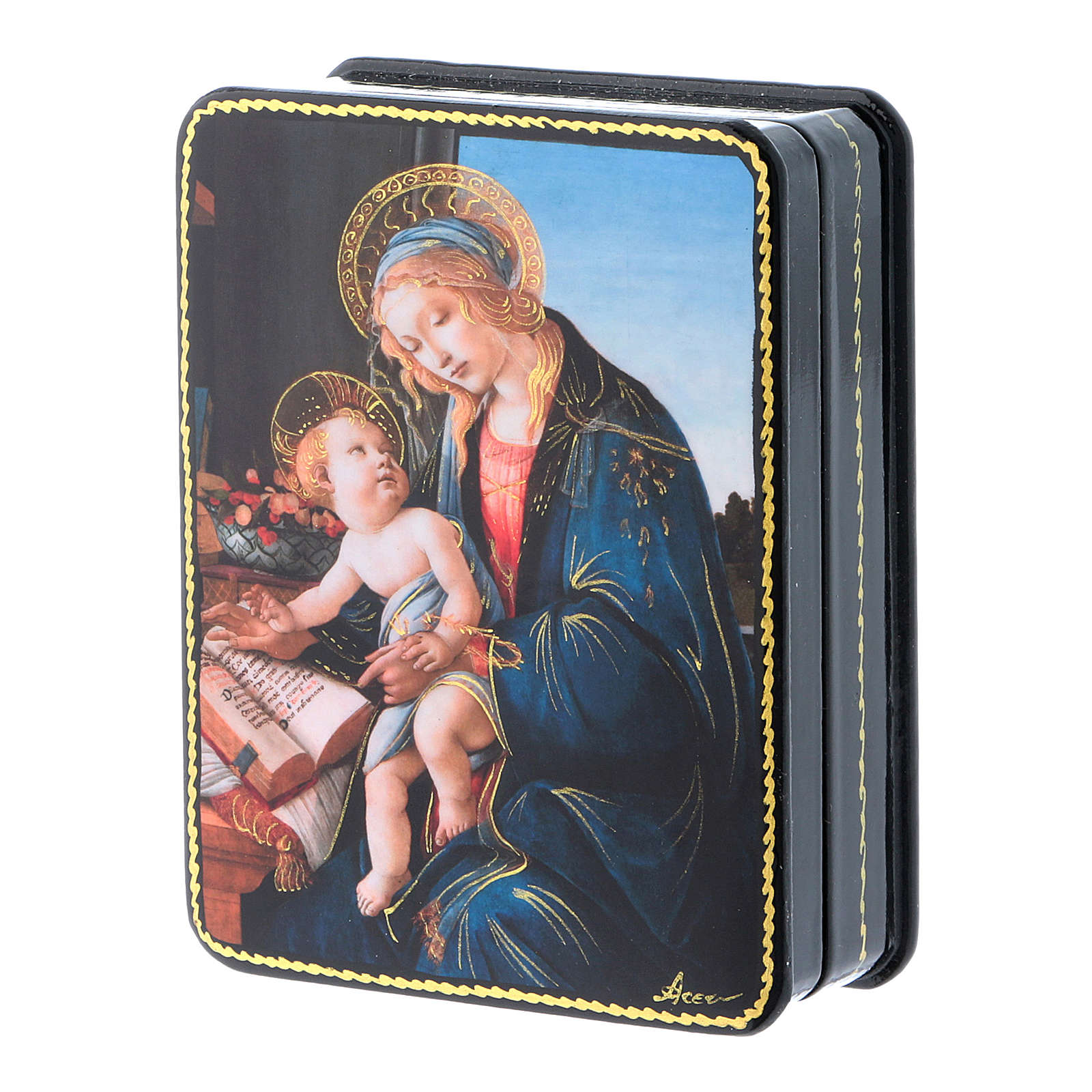 Scatola russa cartapesta Madonna del Magnificat Fedoskino style 11x8 4