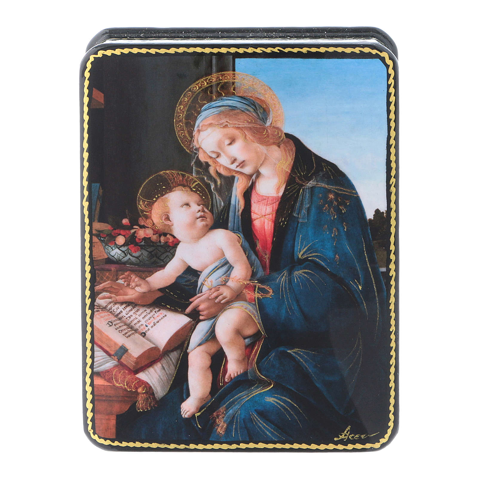 Russian papier machè and lacquer box Madonna of the Book Fedoskino style 11x8 cm 4