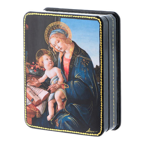 Russian papier machè and lacquer box Madonna of the Book Fedoskino style 11x8 cm 2