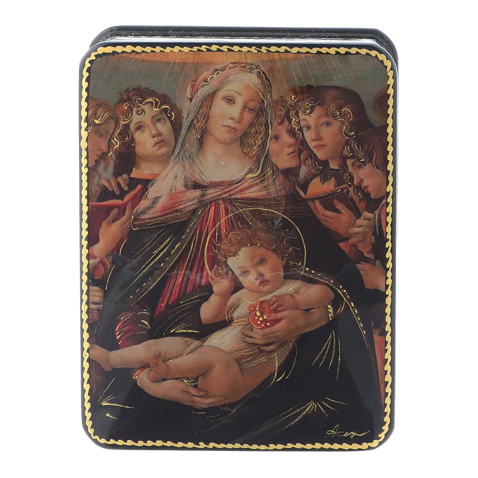Russian papier machè and lacquer box The Birth of Christ Fedoskino style 11x8 cm 4