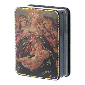 Russian papier machè and lacquer box The Birth of Christ Fedoskino style 11x8 cm s2