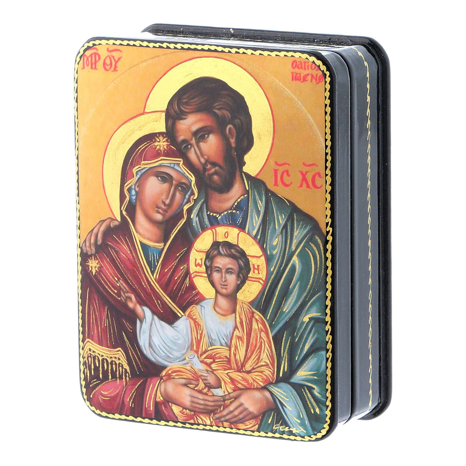 Scatola russa Papier-mâché Nascita Cristo Fedoskino style 11x8 4