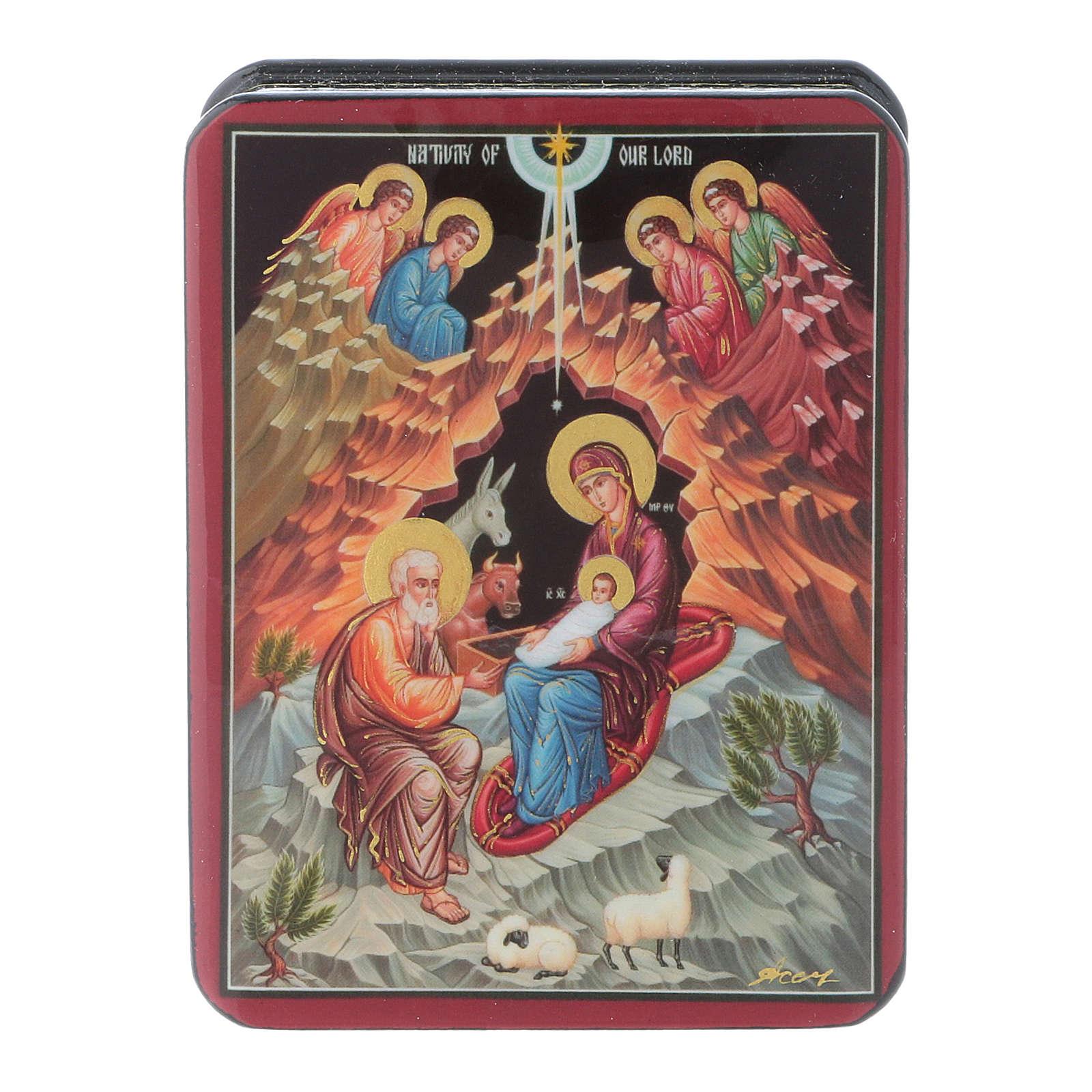 Lacca russa cartapesta Sacra Famiglia Fedoskino style 11x8 4