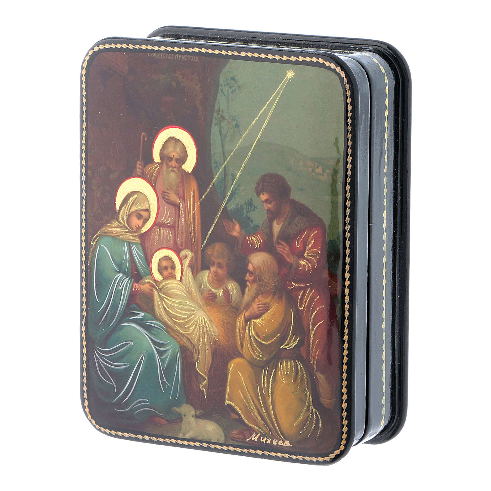 Scatola russa cartapesta Nascita Cristo icona Fedoskino style 11x8 4