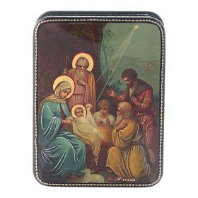 Scatola russa cartapesta Nascita Cristo icona Fedoskino style 11x8 s1