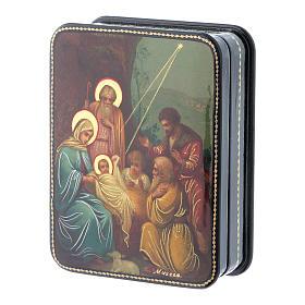 Scatola russa cartapesta Nascita Cristo icona Fedoskino style 11x8 s2