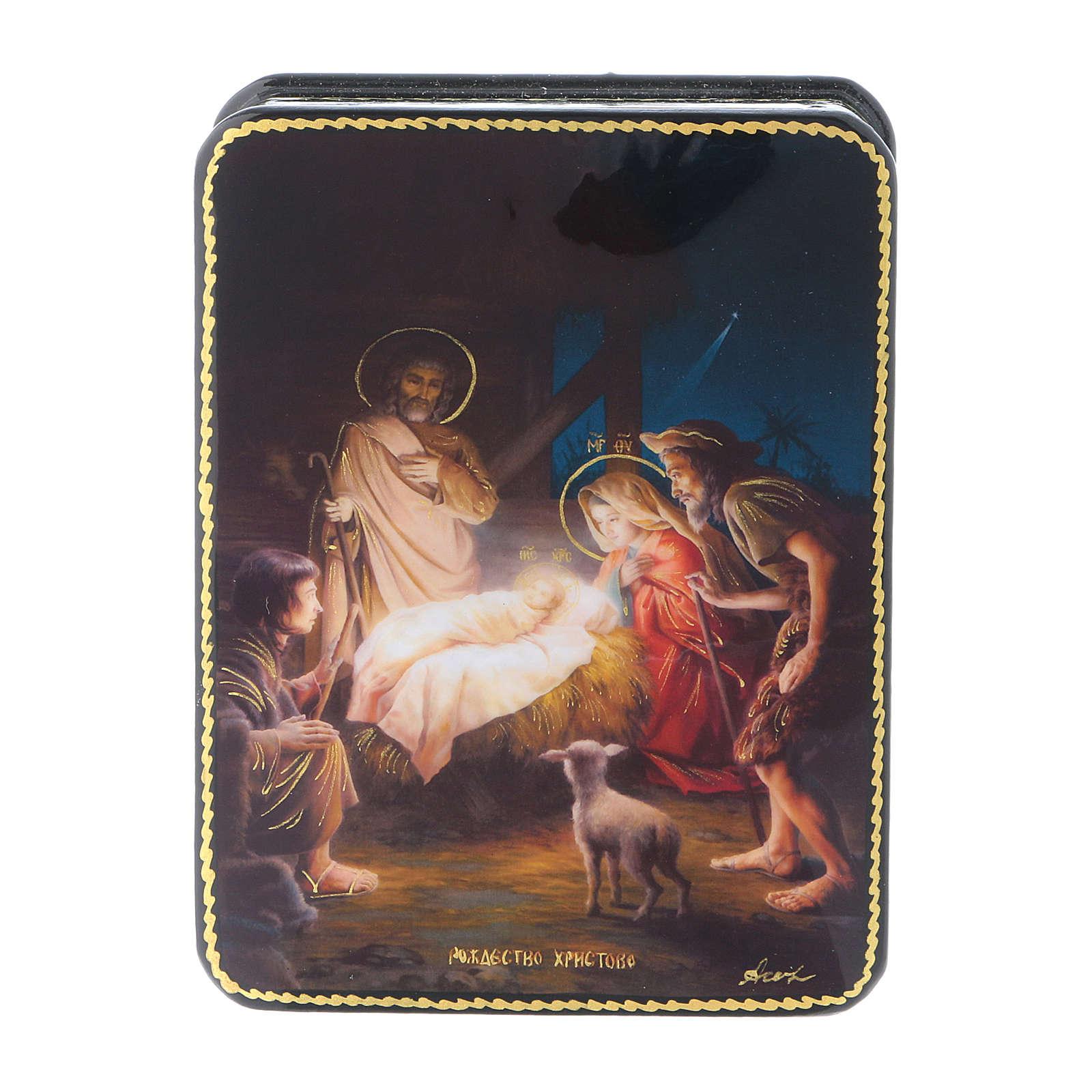 Scatola russa cartapesta Nascita di Gesù Cristo Fedoskino style 11x8 4