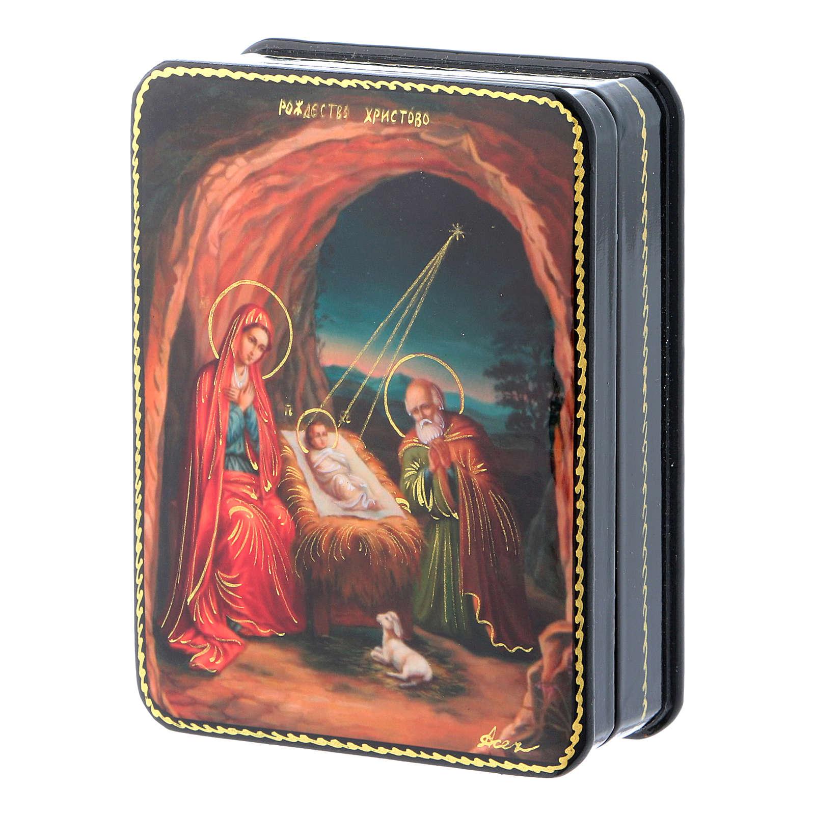 Lacca russa cartapesta Fedoskino style 11x8 Nascita Gesù Cristo 4