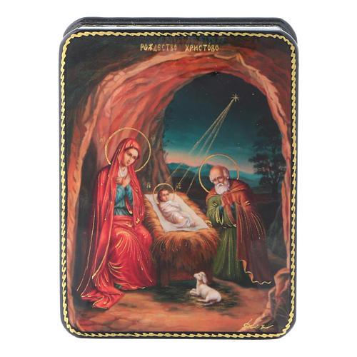 Lacca russa cartapesta Fedoskino style 11x8 Nascita Gesù Cristo 1