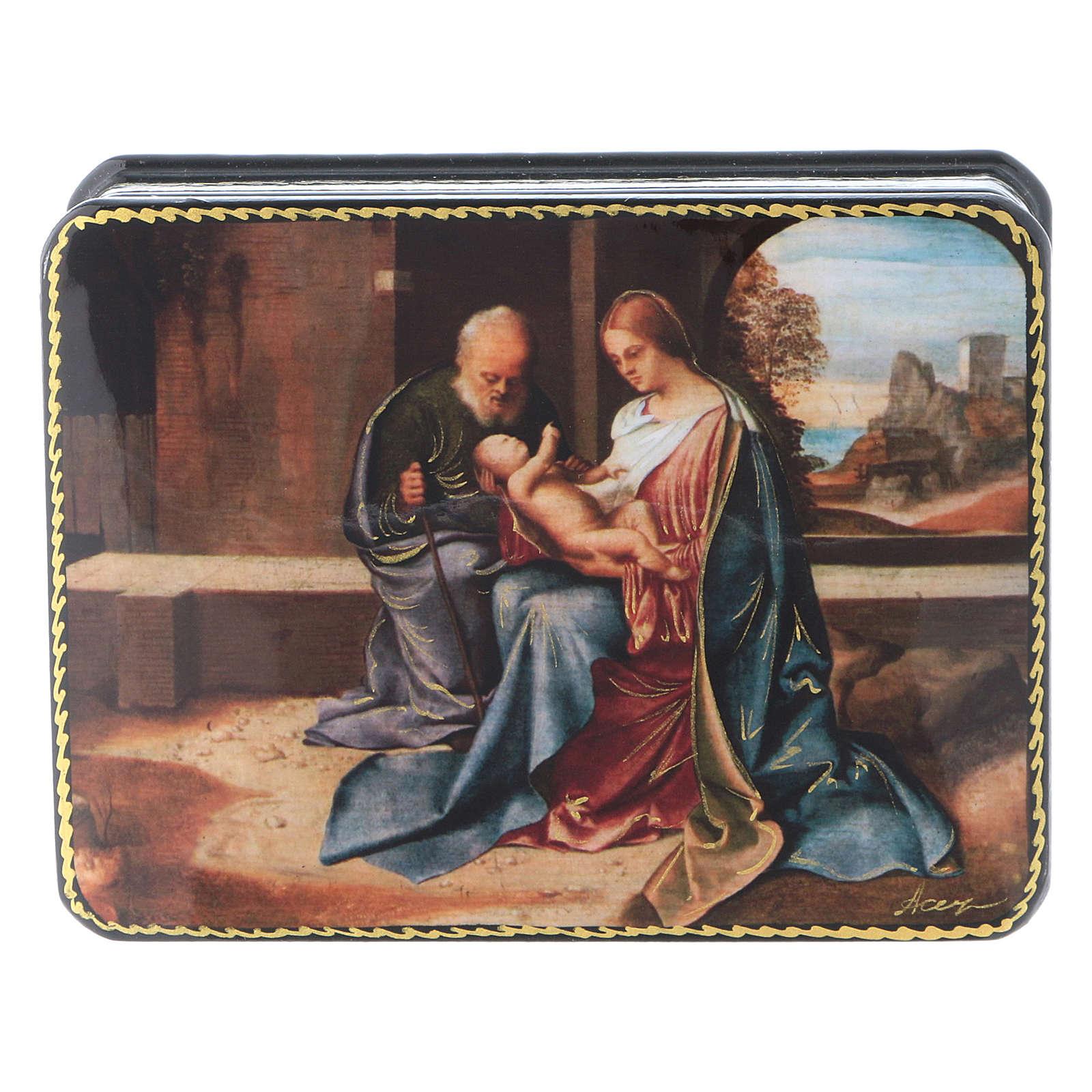 Scatola russa Papier-mâché Nascita Gesù rinascimentale Fedoskino style 11x8 4