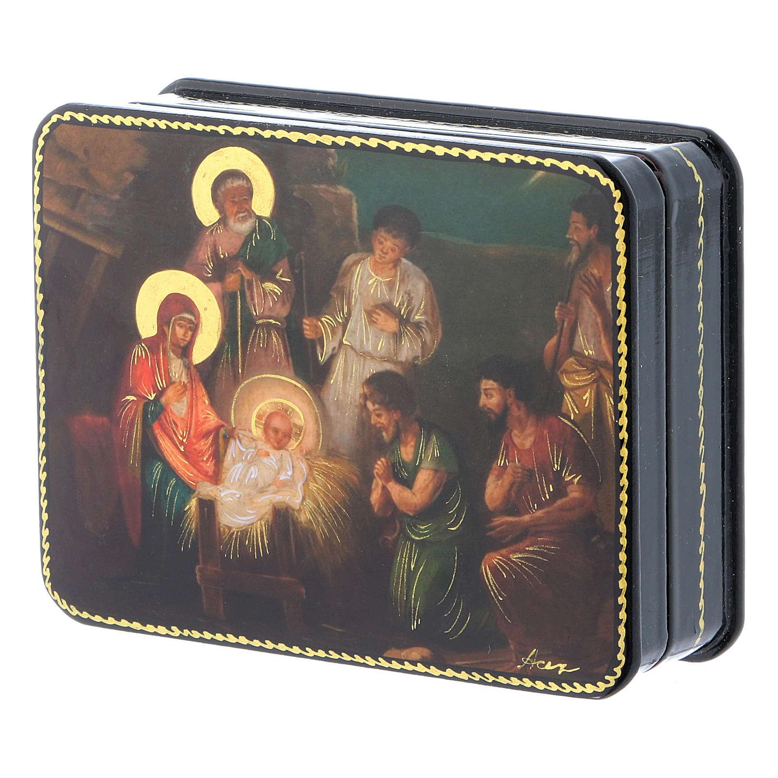 Lacca russa cartapesta Nascita di Cristo Fedoskino style 11x8 4