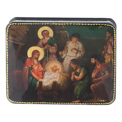 Lacca russa cartapesta Nascita di Cristo Fedoskino style 11x8 1