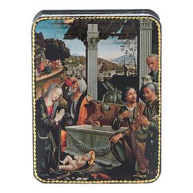 Scatola russa cartapesta L'adorazione dei pastori Fedoskino style 11x8 s1