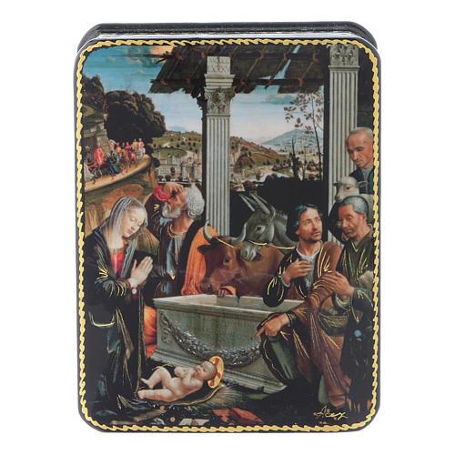 Scatola russa cartapesta L'adorazione dei pastori Fedoskino style 11x8 1