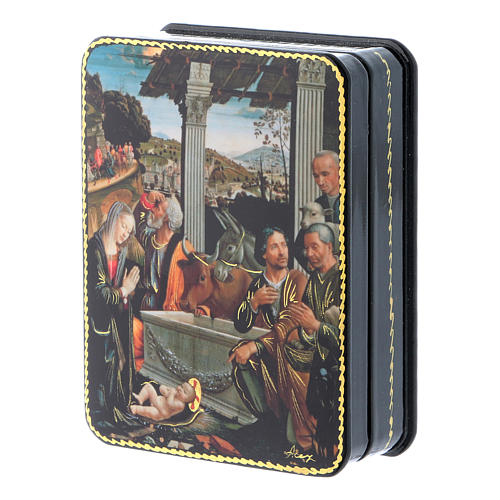 Scatola russa cartapesta L'adorazione dei pastori Fedoskino style 11x8 2
