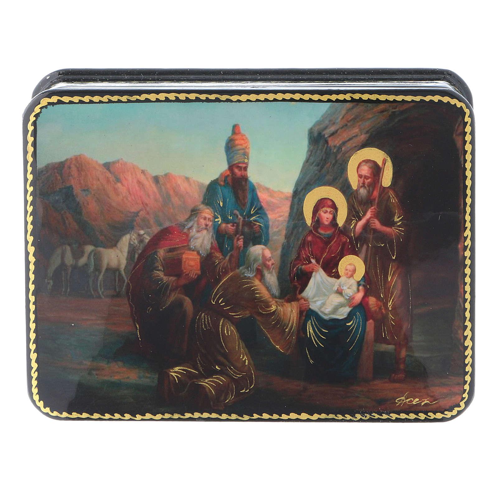 Scatola russa cartapesta Nascita Cristo Adorazione Magi Fedoskino style 11x8 4