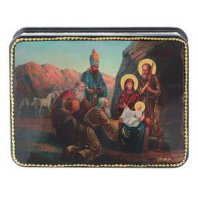 Scatola russa cartapesta Nascita Cristo Adorazione Magi Fedoskino style 11x8 s1