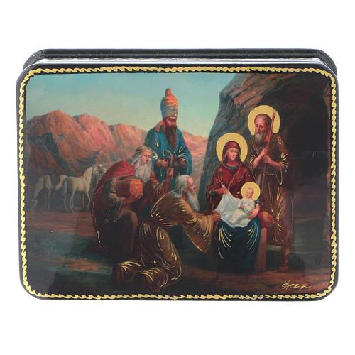 Scatola russa cartapesta Nascita Cristo Adorazione Magi Fedoskino style 11x8 1
