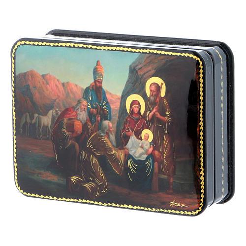 Scatola russa cartapesta Nascita Cristo Adorazione Magi Fedoskino style 11x8 2
