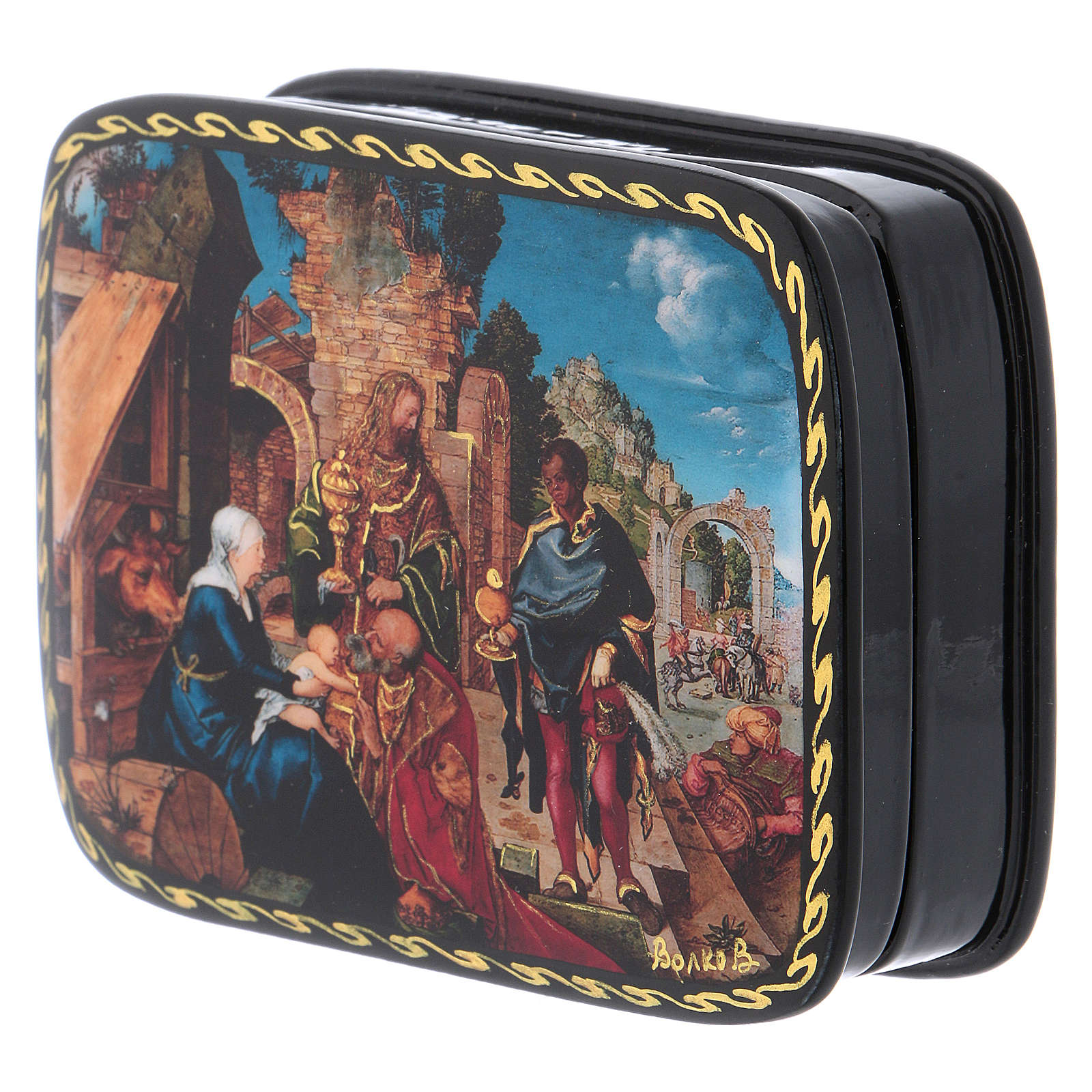 Russian Papier-mâché box The Adoration of the Three Wise Men Fedoskino style 11x8 cm 4