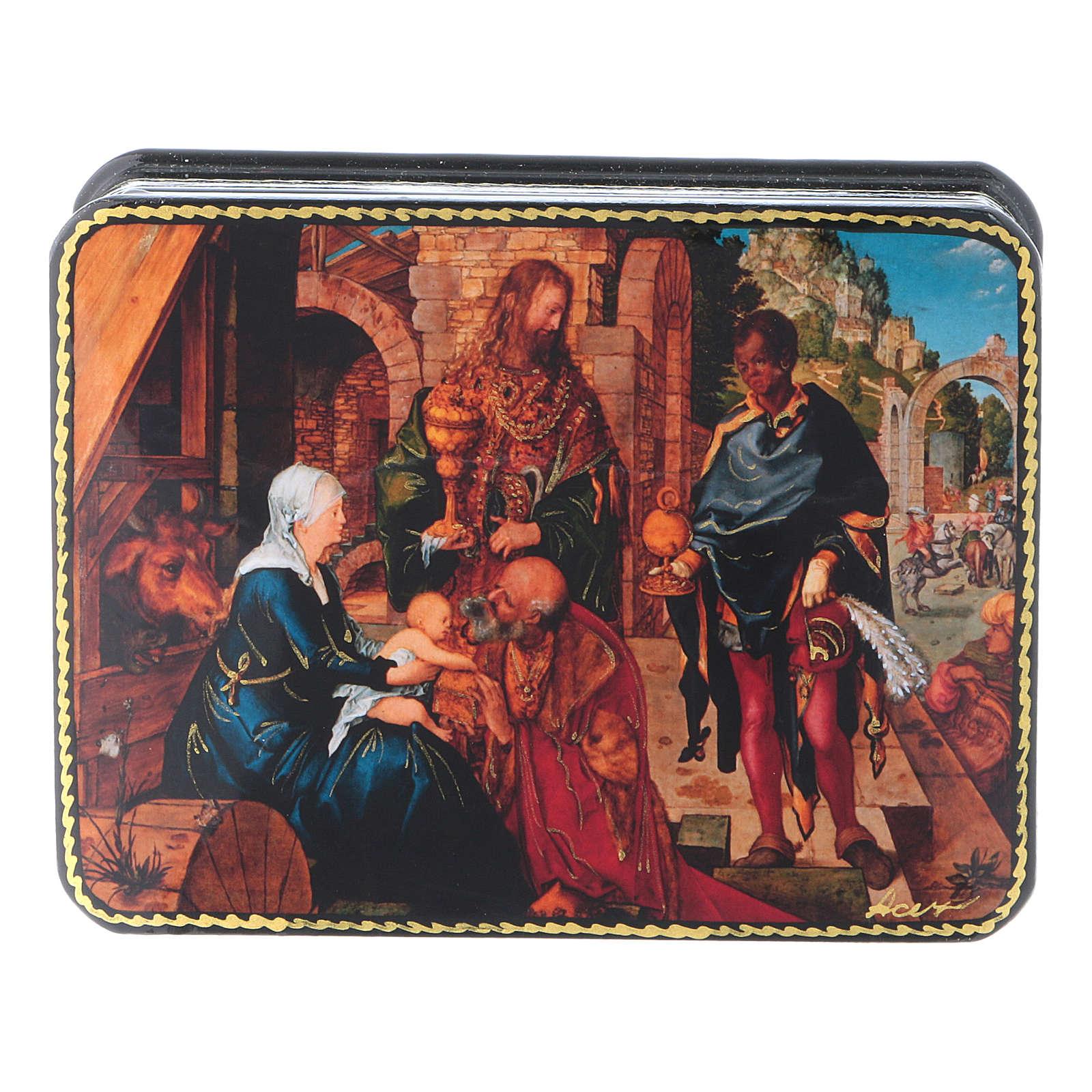 Scatola russa cartapesta Adorazione Magi Dürer 11x8 Fedoskino style 4