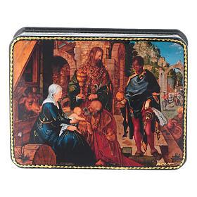 Scatola russa cartapesta Adorazione Magi Dürer 11x8 Fedoskino style s1