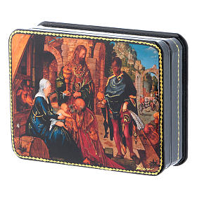 Scatola russa cartapesta Adorazione Magi Dürer 11x8 Fedoskino style s2