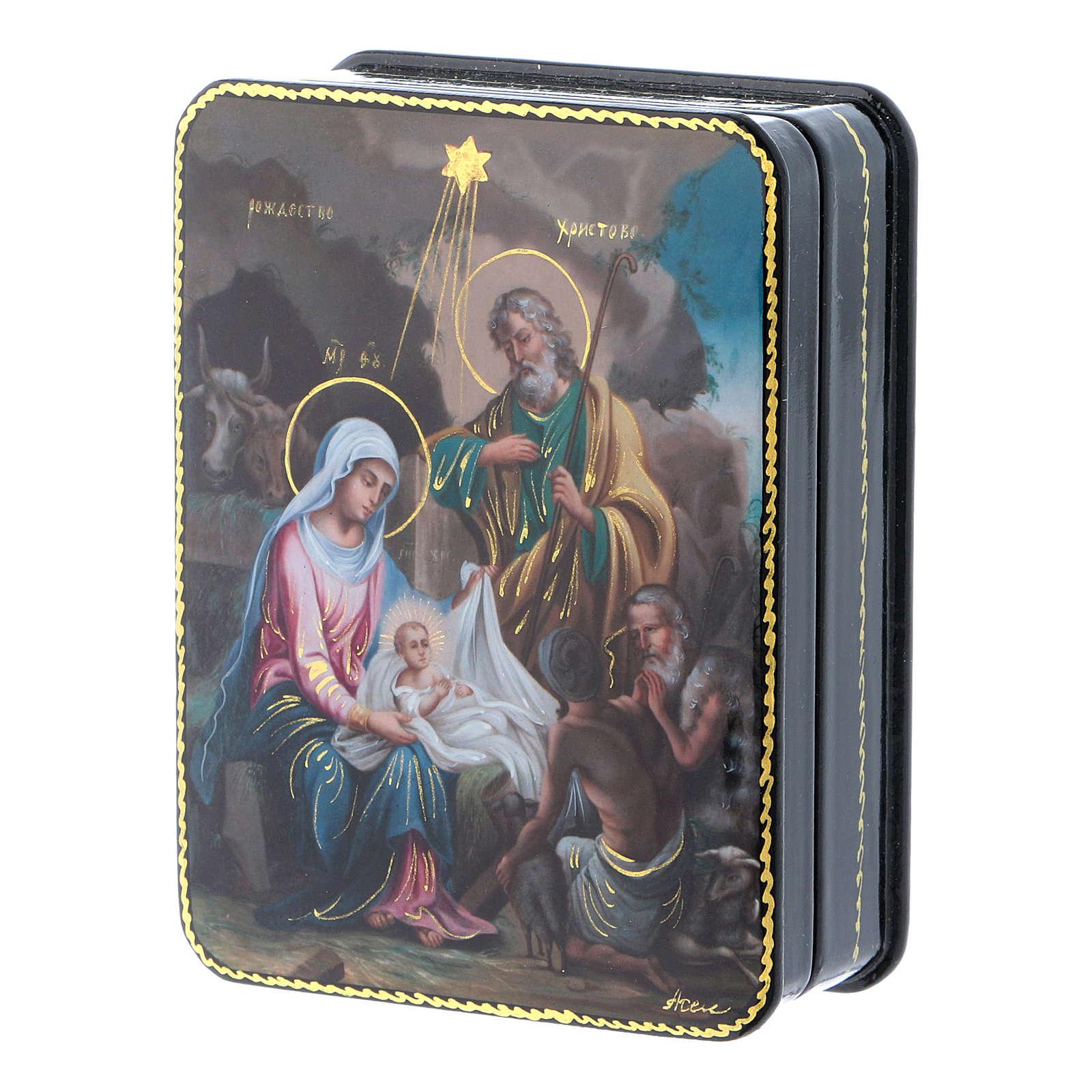 Lacca russa Papier-mâché riproduzione Nascita Cristo Fedoskino style 11x8 4