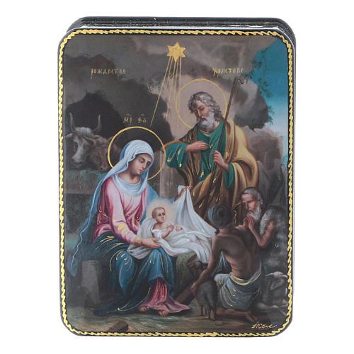 Lacca russa Papier-mâché riproduzione Nascita Cristo Fedoskino style 11x8 1