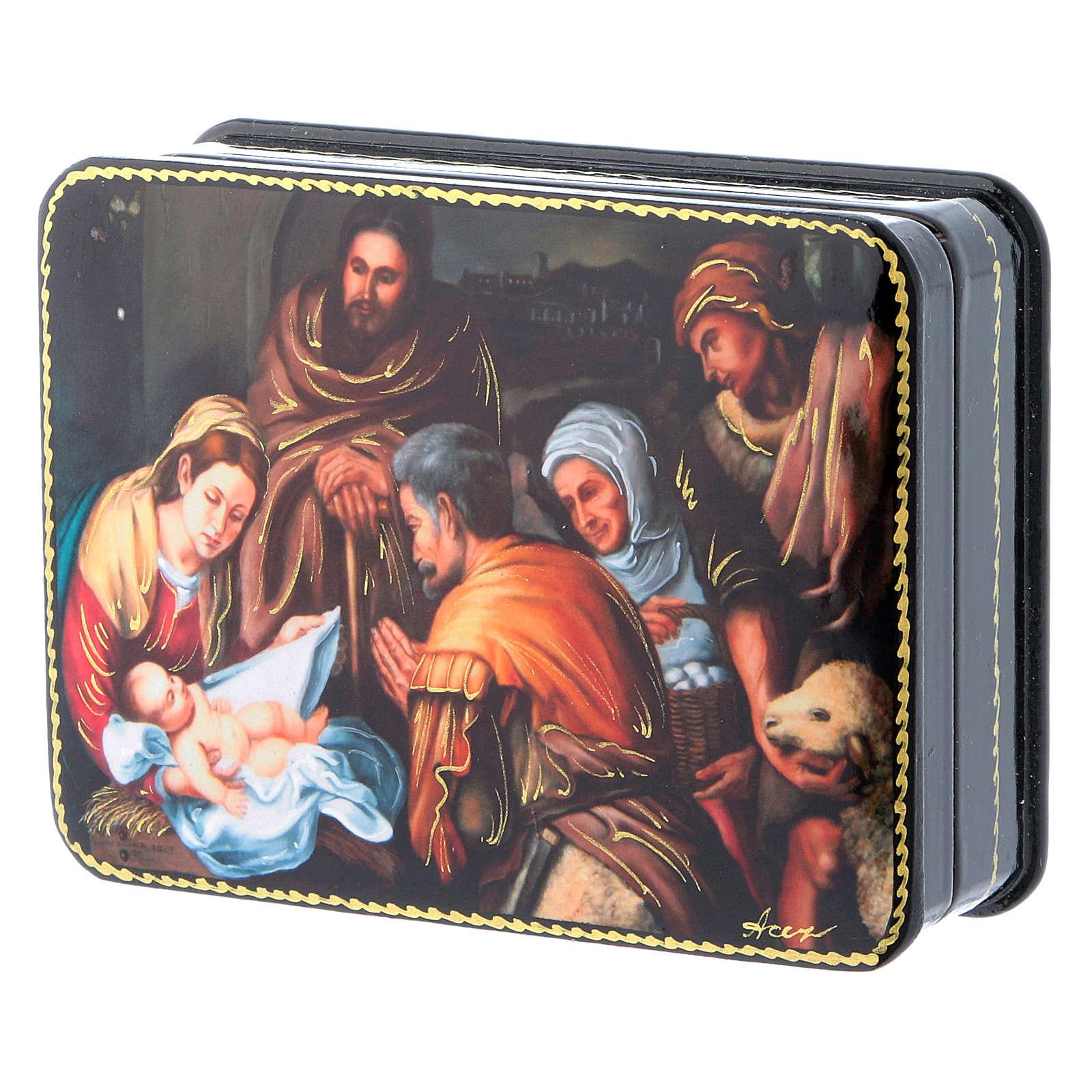 Lacca russa cartapesta Nascita di Cristo del Murillo Fedoskino style 11x8 4