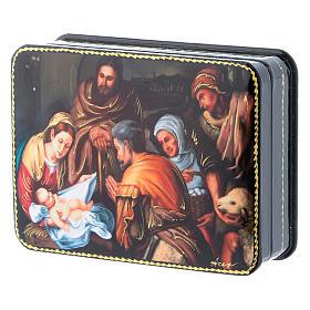 Lacca russa cartapesta Nascita di Cristo del Murillo Fedoskino style 11x8 s2
