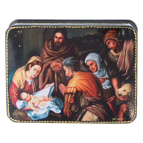 Lacca russa cartapesta Nascita di Cristo del Murillo Fedoskino style 11x8 1