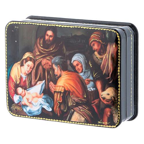 Lacca russa cartapesta Nascita di Cristo del Murillo Fedoskino style 11x8 2