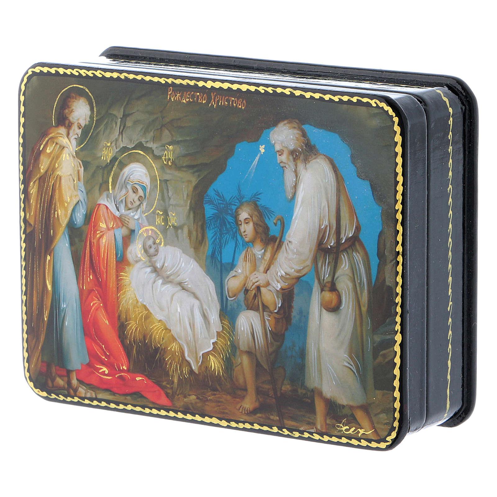 Lacca russa cartapesta Nascita Cristo Maestro Ignoto Fedoskino style 11x8 4