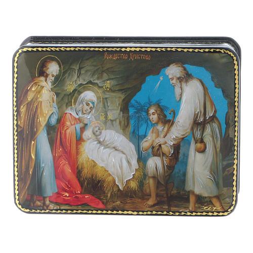 Lacca russa cartapesta Nascita Cristo Maestro Ignoto Fedoskino style 11x8 1