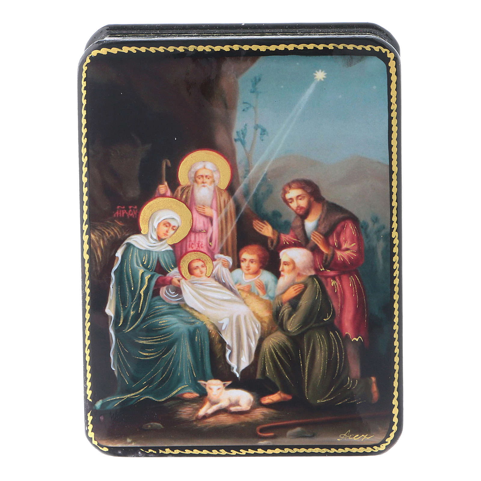 Russian Papier-mâché box The Birth of Christ reproduction 11x8 cm Fedoskino style 4