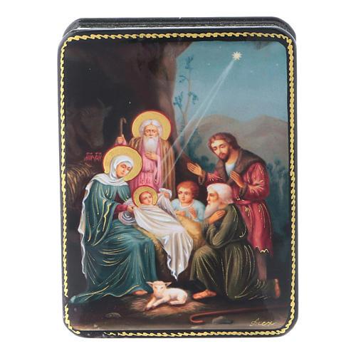 Scatola russa Papier-mâché Nascita Gesù Cristo riproduzione 11x8 Fedoskino style 1