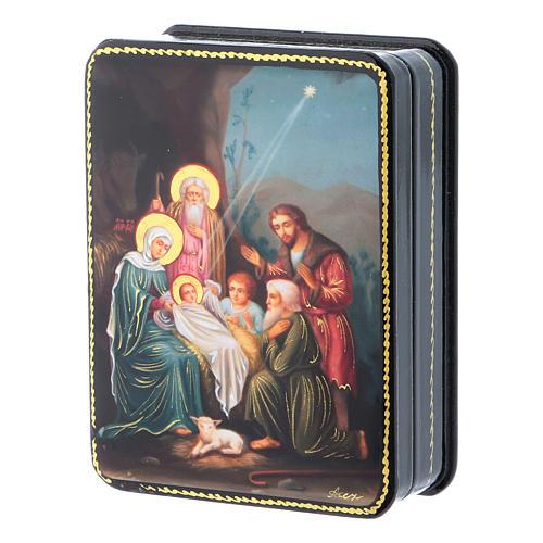 Scatola russa Papier-mâché Nascita Gesù Cristo riproduzione 11x8 Fedoskino style 2