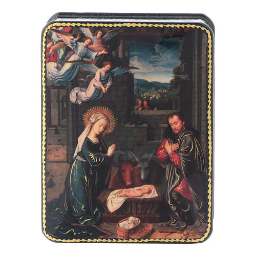 Russian papier machè and lacquer box The Birth Of Christ of David Fedoskino style 11x8 cm 1