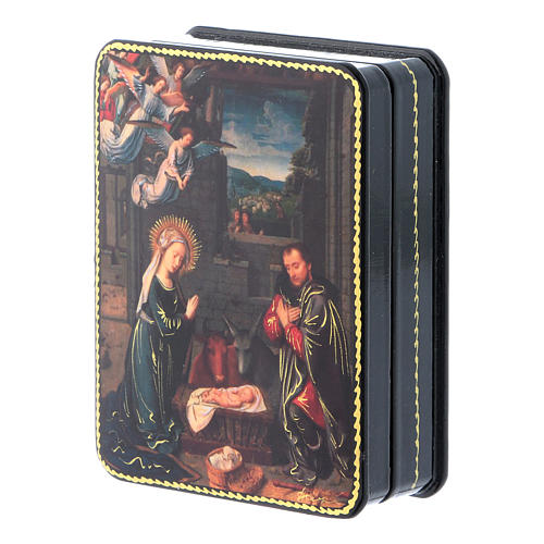 Russian papier machè and lacquer box The Birth Of Christ of David Fedoskino style 11x8 cm 2