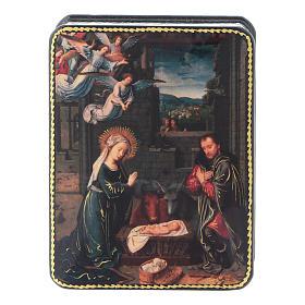 Lacca russa cartapesta Nascita Cristo di David Fedoskino style 11x8 s1