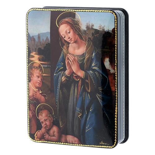 Russische Lackdose aus Papiermaché Madonna mit dem Kinde und dem Johannesknaben im Fedoskino-Stil 15x11 cm